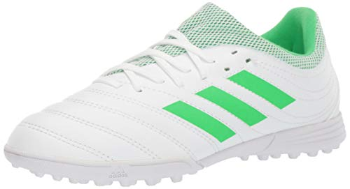 adidas Unisex-Kid's Copa 19.3 Turf Soccer Shoe, White/Solar Lime/White, 5 M US Big Kid
