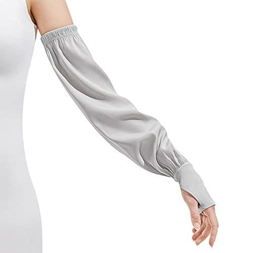 UV Sun Protection Arm Sleeves for Women Loose-Fit UPF 50+ Cooling Skin Protective Cover, Grey