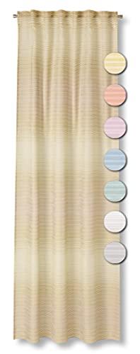 Neutex for you! Rocco halbtransparenter Schal mit Multifunktionsband, Gardinenband, Vorhang, Gardine, 245 x 140 cm, senf