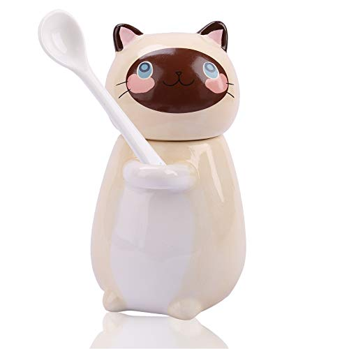 Cute Cat Mugs Funny Ceramic Coffee Mug 9 oz Kitty Tea Cup Cat Coffee Mugs with Spoon and Lid Novelty Valentines Day Birthday Gift for Cat Lovers Coffee Lovers - Latte
