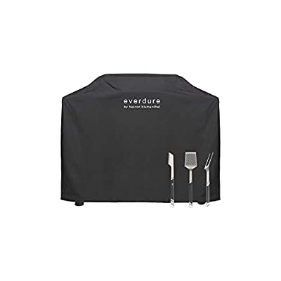 Everdure by Heston Blumenthal Furnace Freestanding Gas Grill Long Cover with Stainless Steel Tongs, Spatula and Fork: Durable Straps, Waterproof Lining and 4 Season Protection, Black