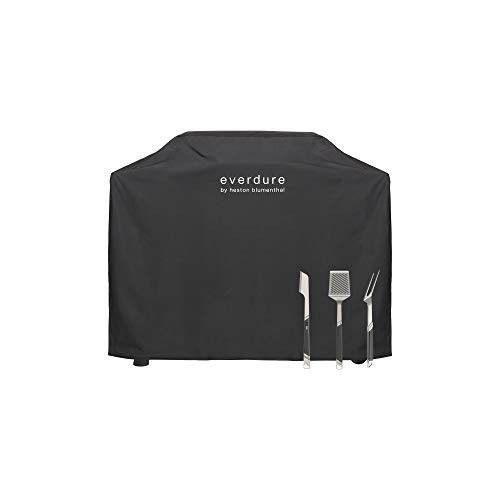 Everdure by Heston Blumenthal Furnace Freestanding Gas Grill Long Cover with Stainless Steel Tongs, Spatula and Fork: Durable Straps, Waterproof Lining and 4 Season Protection, Black Grills Propane