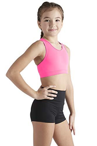 Liakada Girls Stylish & Supportive Basic Sports Bra with Integrated Bra Shelf Liner Dance, Gym, Yoga, Cheer! Hot Pink