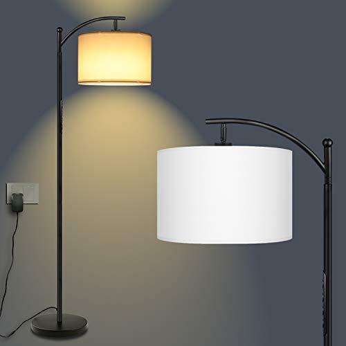 LED Deckenfluter Stehlampe, GLUROO RGB Dimmbar Stehleuchte Berührungssteuerung mit Stoff Lampenschirm und 15W E27 LED Glühbirne für Wohnzimmer, Schlafzimmer, Büro