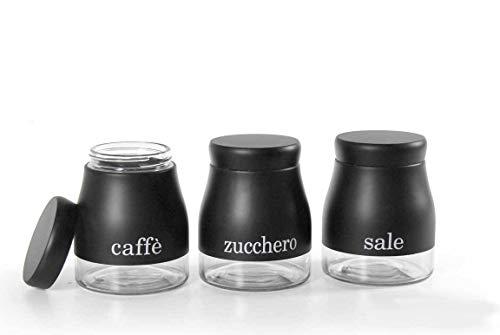 Kasahome Tris 3 Barattoli Cucina Contenitori Tappo caffè Zucchero Sale Vetro Nero Conservazione Casa 850 ML
