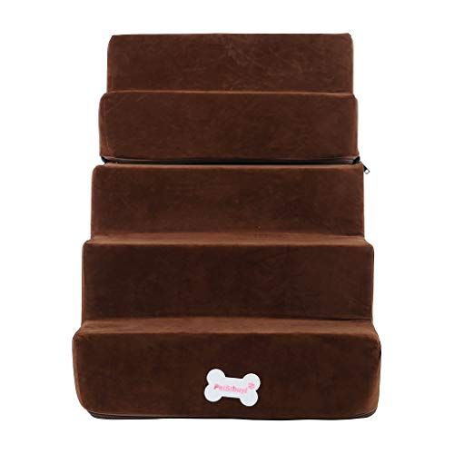 Auvem Pet Dog Stairs High Density Foam 5th Floor Foldable Pet Gangway with Ladder Pet Dog Washable Go to Bed Sofa Stairs Compressed Packing Box (Brown)