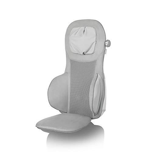 Medisana MC 825 Silver Shiatsu Massageauflage, Massagesitzauflage mit Akupressur und Spotmassagefunktion, Nackenmassage, Wärmefunktion, 3 Intensitäten, mit Fernbedienung für Rücken und Nacken