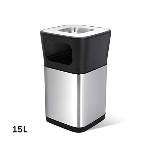 Vuilnisbak EVEN buiten zwart vuilnis behuizing in kast industriële vuilnisbak met deksel commerciële afvalcontainer roestvrij staal, luxe roestvrij staal vuilnisbak met asbak