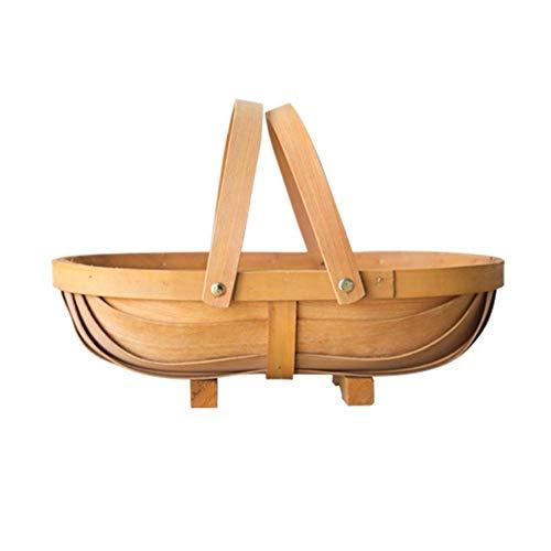 AIMERKUP Aufbewahrungskorb aus Holz, handgewebt, in Form eines Boots, Blumen, tragbar, Picknickkorb, geeignet für die Aufbewahrung im Haus, Aufbewahrung von Notwendigkeiten