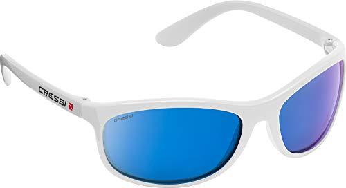 Cressi Rocker Floating Sunglasses Gafas de Sol Deportivas Flotantes con Estuche Rígido, Unisex Adulto, Blanco Lentes Espejadas Azul, Talla Única