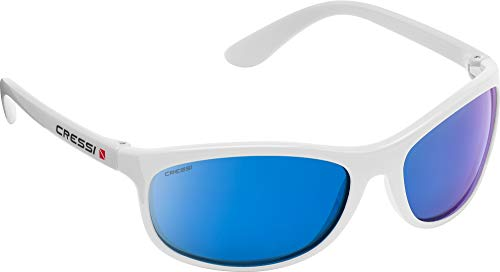 Cressi Rocker Floating Sunglasses Gafas de Sol Deportivas Flotantes con Estuche Rígido, Unisex Adulto, Blanco/Lentes Espejadas Azul, Talla Única