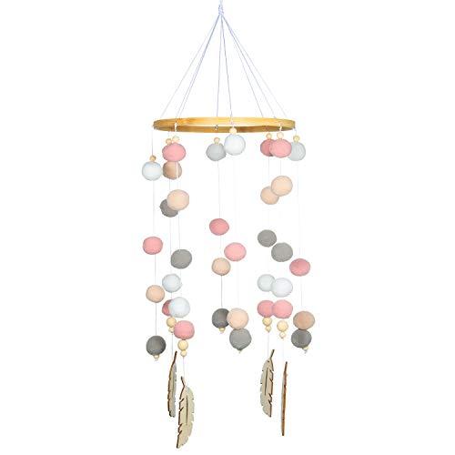 Campanilla de Cama para Bebé, Comius Pelota de Fieltro Móvil para Cuna de Bebé, Tienda Móvil de Carillones de Viento de Madera Colgante Decoración del Hogar (Pink)