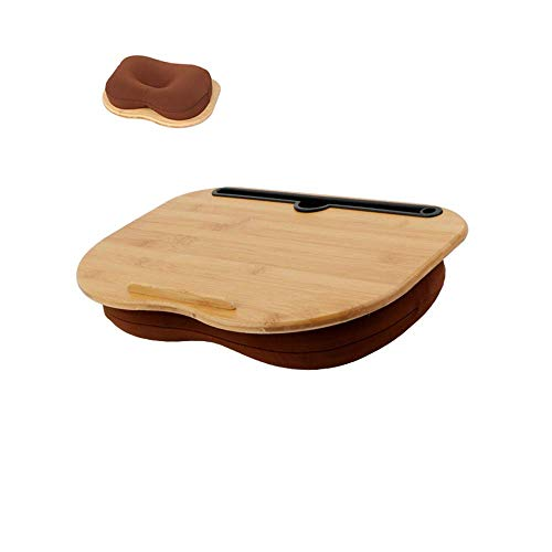 Lap Desk-Portable Laptop Table with Bamboo Platform Phone Holder Pillow Cushion Anti-Slip Stopper on Bed and Sofa