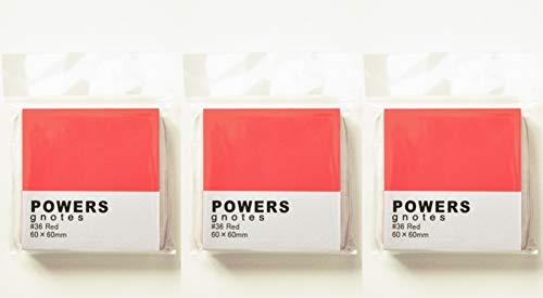 プリントインフォームジャパン gnotes 粘着力と糊面積アップふせん 「POWERS」 60×60mm 【3個セット】 (レッド)