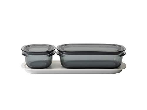 ライクイット (like-it) キッチン収納 調理ができる 保存容器 Sサイズ1個 グレー + Mサイズ1個 グレー トレーM ホワイト FC-035 冷凍保存可 食器洗い乾燥機可