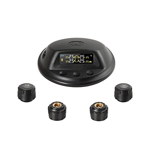 Danghe Sistema de monitoreo de presión de neumático inalámbrico Solar táctil TPMS con 4 sensores externos de Alarma de Audio Medición de presión/Temperatura