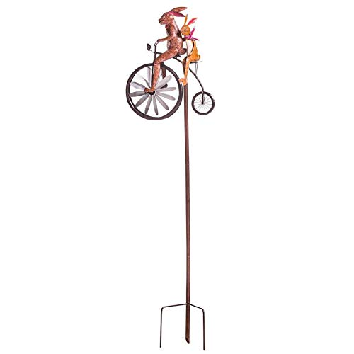 Moving Vintage Bicycle Metal Wind Spinner, Cute Animal Motorcycle Garden Pile Metal Wrought Iron, Whimsical Wind Spinner (Rabbit)