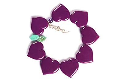 MEC Heart Bracelet, Women's Unique Design, Color Stretch Accesory (Purple Trinitaria)
