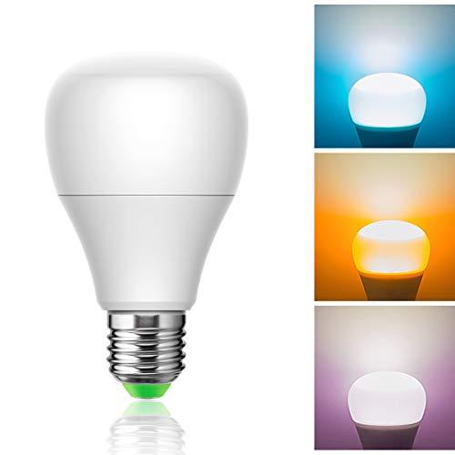 Luohaoshi Bombilla LED E27 multicolor (azul naranja rosa) de 10W RGB, 880lm, luz de ambiente que cambia de color, para el hogar, fiesta, festival, lámpara de luz decorativa, no regulable, 1 paquete