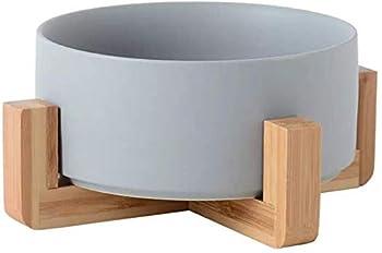 Gamelles Chien Chat - Céramique Gamelles Support Bambou ,Va au Lave-Vaisselle et Facile à Nettoyer Antidérapant, pas Facile à Déborder Convient aux Chats et aux Chiens de Petite et Moyenne Taille