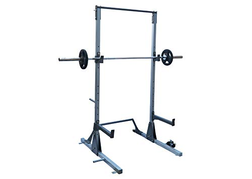 FITNESS YOUTH Multi-Function Adjustable Power Rack Squat Stand with J-Hooks, Land Mine, Adjustable Weight Horns (Grey)