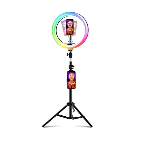XIYUN Tongdaytech Dimmable RGB LED Selfie Ring Fill Light Photo Ring Lamp With Tripod For Makeup Video Live Aro De Luz Para Celular 44inch