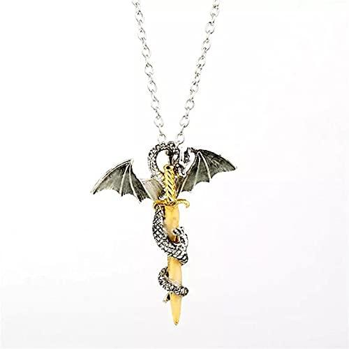 SOTUVO Collar Joyas Luminosas, Collar con Colgante de Espada de dragón, Juego de Encaje para el Cuello, Collar de Anime Que Brilla en la Oscuridad para Hombres