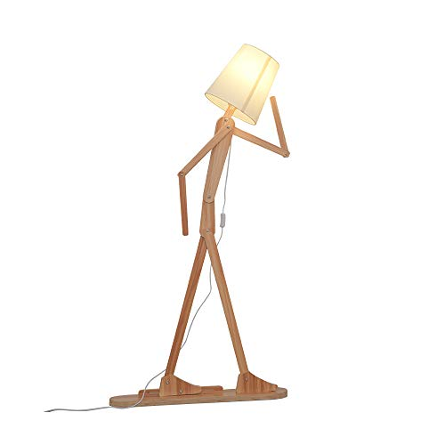 HROOME Modern Contemporary Decorative Wooden Floor Lamp Light with Fold White Fabric Shade Adjustable Height Standing Light for Living Room Bedroom Office 160cm Unique Design (Ash)