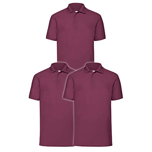 Fruit of the Loom Herren 65/35 Poloshirt, Burgund, M (3erPack