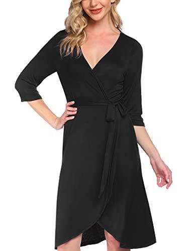 Pinspark Damen Baumwolle Stillnachthemd Umstandskleidung Baumwolle 3/4 Ärme Nachtwäsche Sleepshirt Nachtkleid V Ausschnitt Sleepwear Schwarz XL