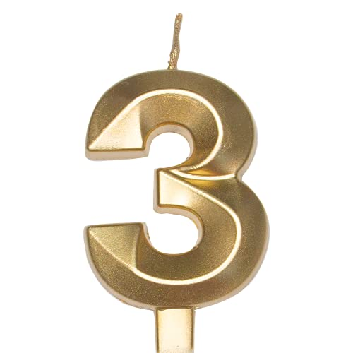 Diamond Metallic Gold Number【3】Birthday Cake Candle | Food Safe PP Plastic Stick | 3.75in 3D Smooth Golden Glitter Numeral Topper Decor for Wedding Anniversary, Kids Party Celebration ,Family Baking