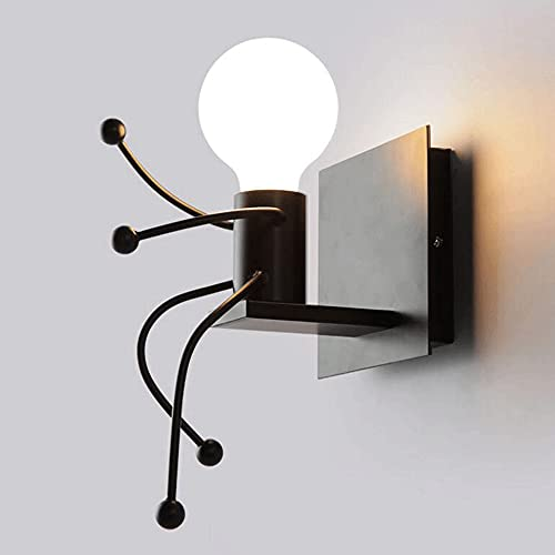 ZLMFK Lámparas de pared Creative Little People Mini apliques de pared Iluminación Decoración moderna Lámpara de noche de metal Niños Muñeca de dibujos animados Lámparas de pared de regalo Dormitorio E