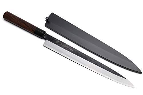Yoshihiro Hongasumi Acier Blanc Noir martelé forgé Yanagi Sashimi Couteau avec Nuri Saya Coque