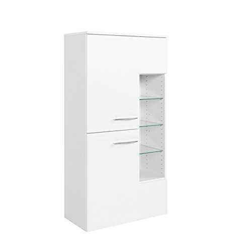 lifestyle4living Badezimmerschrank in Weiß, Hochglanz, breit | Halbhoher Midischrank mit 2 Türen, 2 Einlegeböden und Regal-Fach mit 3 Glas-Einlegeböden
