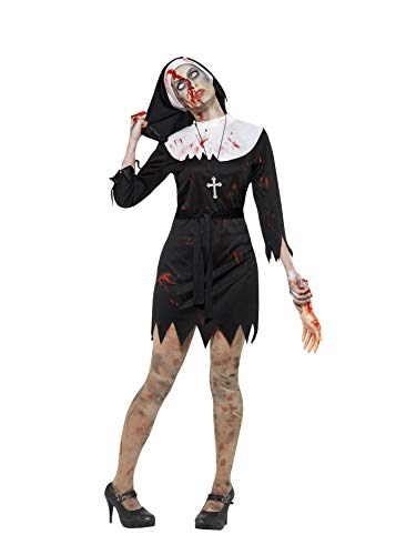 Smiffys 45527S - Damen Zombie Ordensschwester Kostüm, Kleid, Kopftuch, Gürtel und Kreuz Kette, Größe: 36-38, schwarz