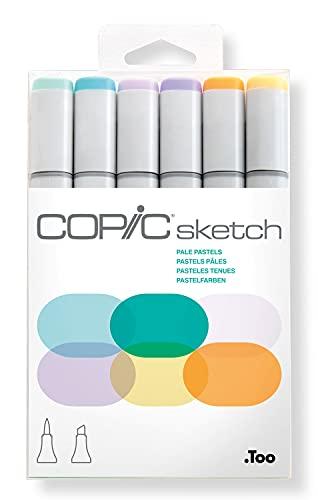 COPIC Sketch Marker Set 'Pale Pastels' mit 6 Farben, professionelle alkoholbasierte Pinselmarker mit einer flexiblen und einer mittelbreiten Spitze