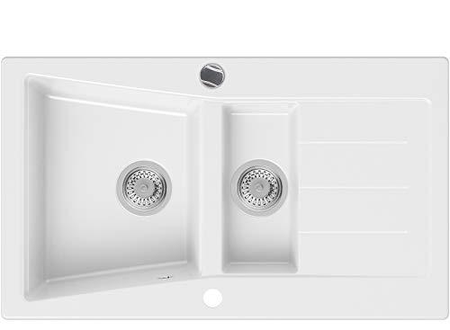 Granitspüle Weiß 88 x 52 cm, Spülbecken + Siphon Automatisch, Küchenspüle ab 60er Unterschrank in 5 Farben mit Siphon und Antibakterielle Varianten, Einbauspüle von Primagran