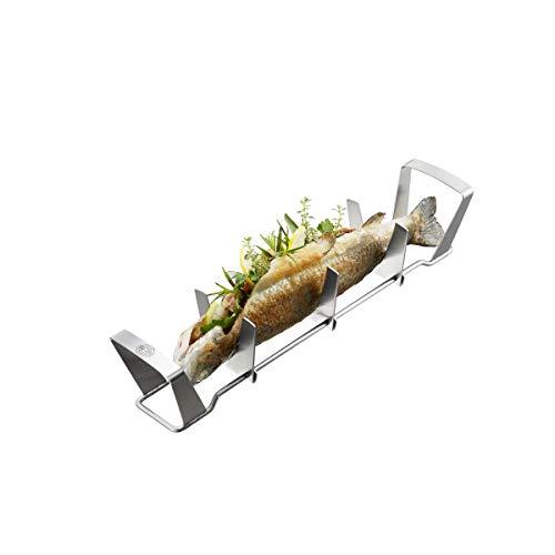 GEFU Fish Rack Fischhalter BBQ, Fischbräter zur Zubereitung von Dorade, Forelle und Makrele, für Gas- und Kohlegrill