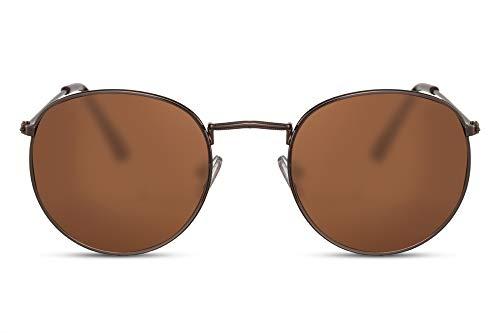 Cheapass Gafas de Sol Redondas Montura Cobre con Cristales Marrones UV400 Gafas Hombre Mujer