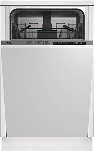 "Beko DIS25841 18"" Slim, Integrated Dishwasher with 8 Place Settings, 5 Programs, 48 dBA, Concealed Heating Element, Stainless Steel Tub, Sanitize Function, in Panel Ready"