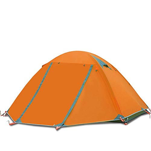 BaiYouDa Backpacking Tent,4 Season Waterproof Tent,2 Person Ultralight Tent Aluminum Rod Windproof Waterproof for Camping Hiking Travel Climbing - Easy Set Up (Orange)