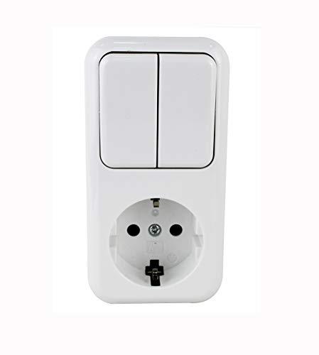 Base fija interruptor doble un control+enchufe schuko color blanco.