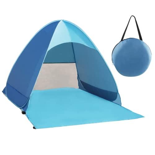 Karvipark Strandmuschel, Tragbar Extra Light Strandzelt, Sun Shelter für 2-3 Personen, Einschließlich Tragetasche und Zeltpflöcke, UV-Schutz, Beach Zelt für Familie, Strand, Garten, Camping (Blau)