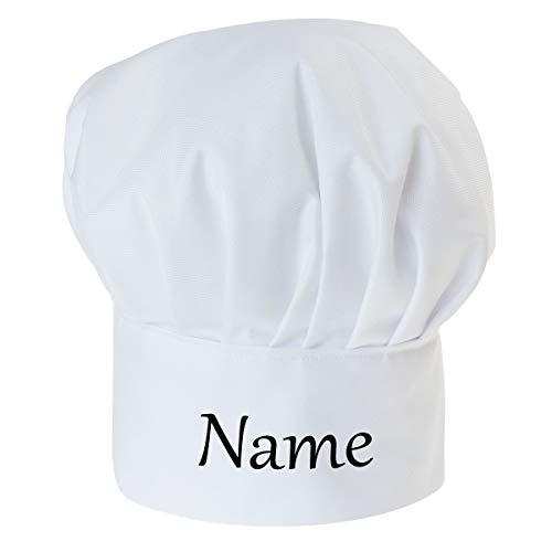 Personalisierte Kochmütze Für Frauen und Männer Weiß Kochhaube mit Ihrem Wunschtext Klettverschluss Weiß [108]