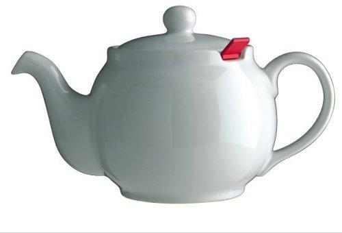 London Teapot Company - Chatsford - Teiera per 6 Tazze con 1 Filtro Rosso, Colore: Bianco