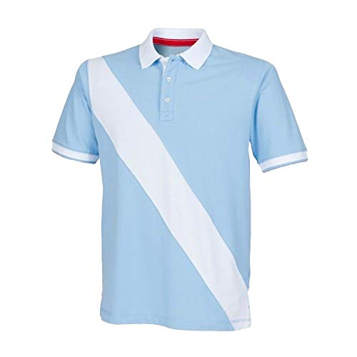 Front Row - Polo de Rugby à Manches Courtes 100% Coton - Homme (2XL) (Bleu Ciel/Blanc)