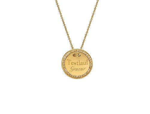 Remi Bijou Halskette MIT Gravur - Gravurplatte 2,5 cm Münze Rund mit Strasssteinen, ColorName:Gold