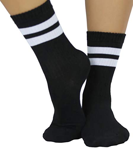 ToBeInStyle Women's Throwback Athletic Ankle Sock - Black/White - OS