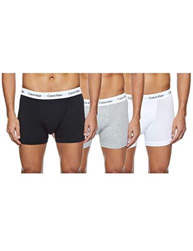 Calvin Klein 3 Pack Low Rise Trunks-Cotton Stretch Bóxers, Multicolor (Black/White/Grey Heather), M (Pack de 3) para Hombre