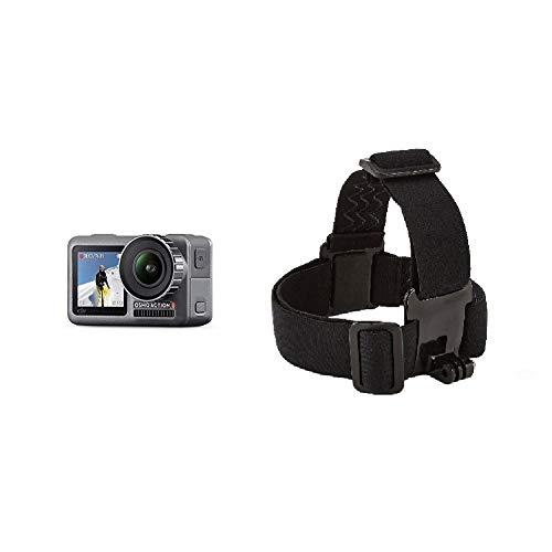 DJI Osmo Action Cam Digitale Actionkamera mit 2 Bildschirmen 11m wasserdicht 4K HDR-Video 12MP 145° Winkelobjektiv Kamera Schwarz & Amazon Basics Kopfgurt für Actionkamera